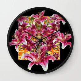 ORIENTAL STAR GAZER  LILIES FLORAL MODERN BLACK ART Wall Clock