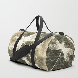 Textured dragonflies in beige Duffle Bag