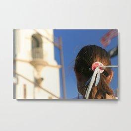 Girl Feather Headdress Metal Print