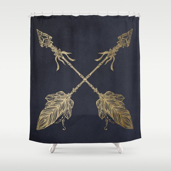 Captivating Arrows Gold Copper Bronze On Navy Blue Shower Curtain By Awesome Design