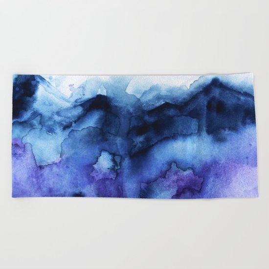 Abstract Indigo Purple Mountians Beach Towel