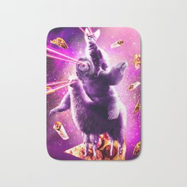 Laser Eyes Space Cat Riding Sloth, Llama - Rainbow Bath Mat