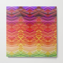 Dimensional Sunset Geometric Rainbow Metal Print