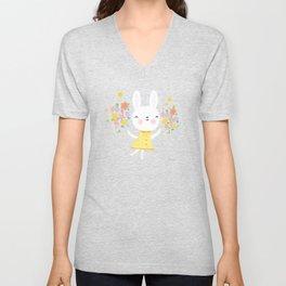 Dancing Garden Bunny Unisex V-Neck