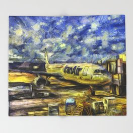 Iran Air Airbus A330 Art Throw Blanket
