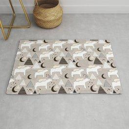 black and white Scandi Animals Prints patterns Rug