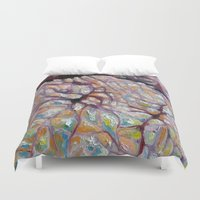 palms Duvet Covers featuring Palms by Rachel Deane