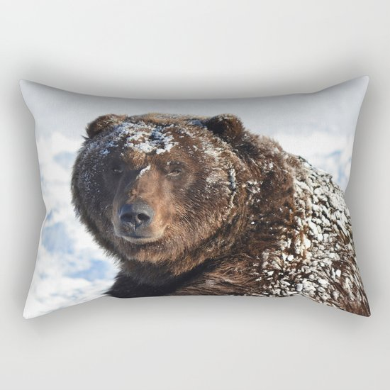 Alaskan Grizzly in Snow Rectangular Pillow