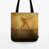 baseball Tote Bags featuring Baseball by gypsykissphotography