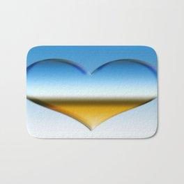Blue heart with golden touch  Bath Mat