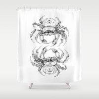 clockwork Shower Curtains featuring clockwork crab by vasodelirium