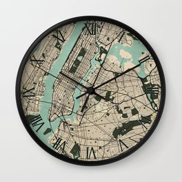 New York City Map of the United States - Vintage Wall Clock