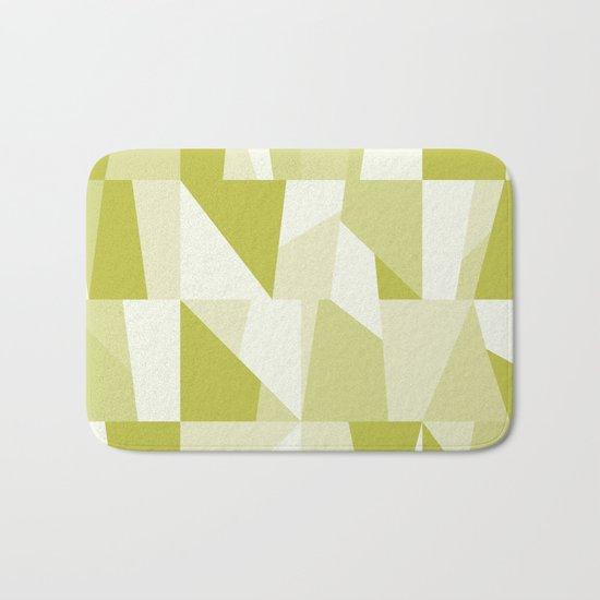 Geometric Green Pattern Bath Mat