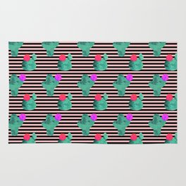Cactus Stripes Peach Background Rug