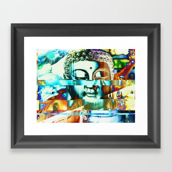 Glitch Buddha #3 Framed Art Print