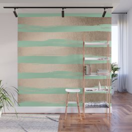 Painted Stripes Gold Tropical Ocean Green Wall Mural