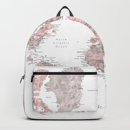 You are my greatest adventure - Dusty pink and grey watercolor world map, detailed Backpack