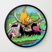 leah flores Wall Clocks featuring Leah by Esau Figueroa