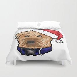 Irish Soft Coated Wheaten Terrier Dog Christmas Hat Duvet Cover