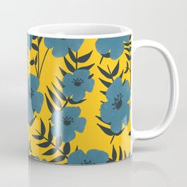 Blue Flowers with Banana Leaves with Yellow Coffee Mug