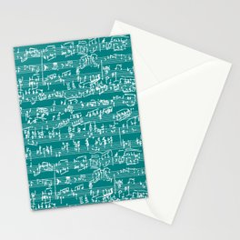 Hand Written Sheet Music // Teal Stationery Cards