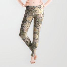 Chrysanthemum - grays/golds - William Morris Leggings