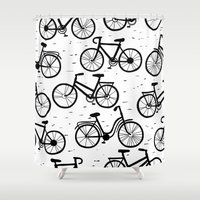 bikes Shower Curtains featuring Bikes by sarknoem