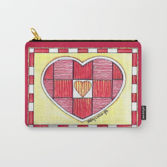 Pinstripe Heart Carry-All Pouch
