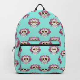 Sugar Skull with Flowers on Turquoise Backpack