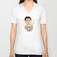 castiel V-neck T-shirts featuring Castiel by Julia Kolos
