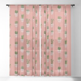 Cacti & Succulents Sheer Curtain