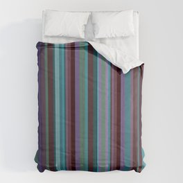 Retro Stripe in Blueberries and Orchids Comforters