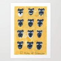 schnauzer Art Prints featuring Schnauzer by Sonia Ku