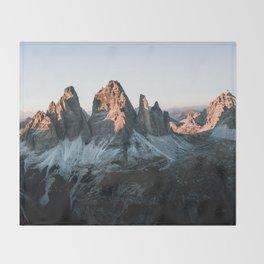 Dolomites sunset panorama - Landscape Photography Throw Blanket