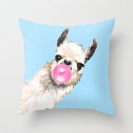 Bubble Gum Sneaky Llama in Blue Throw Pillow