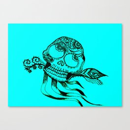 49. Henna Skull with Eye Flying in the Halloween Night as Metal Style Canvas Print