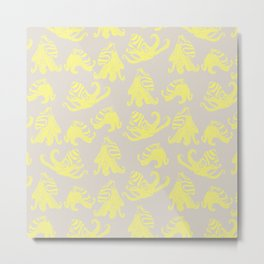 Yellow and Gray Larger Pacific Striped Octopuses Metal Print