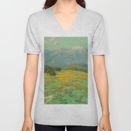 Granville Redmond snow cap spring landscape painting orange flowers green field Unisex V-Neck