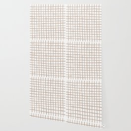 Strokes Grid - Nude on Off White Wallpaper