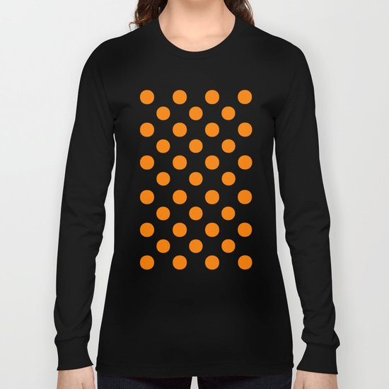 Polka Dots (Orange/White) Long Sleeve T-shirt