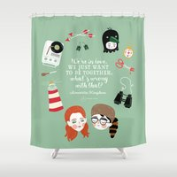 moonrise kingdom Shower Curtains featuring Moonrise Kingdom by Andrea Tobar