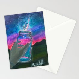 'Slightly Ajar' Hand-Drawn Original Art - Milky Way Night Sky - by Dark Mountain Arts Stationery Cards