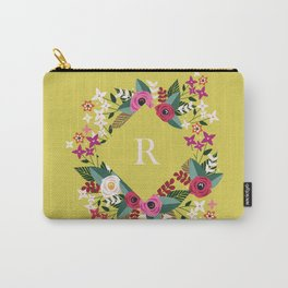 Floral Bright Green Monogram R Carry-All Pouch