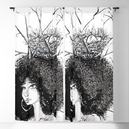 Overgrown afro Blackout Curtain