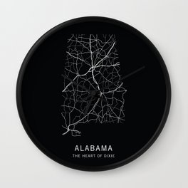 Alabama State Road Map Wall Clock