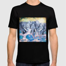 Elephants in crashing waves Black MEDIUM Mens Fitted Tee