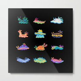 Sea slug - black Metal Print