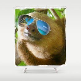 Sloth with Sunglasses, Chillin' Shower Curtain
