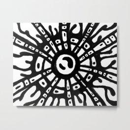 Cellular sun rays black and white Metal Print