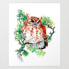 Your Best Friend Owl, woodland Owl art,, children illustration of OWL Art Print